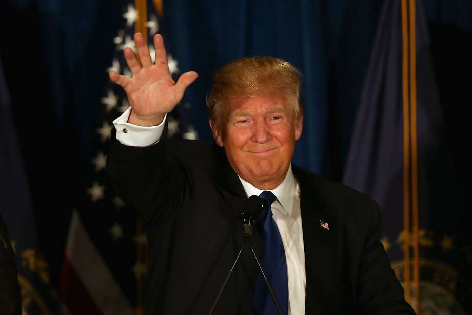 MANCHESTER, NH - FEBRUARY 09:  Republican presidential candidate Donald Trump waves to his supporters after Primary day at his election night watch party at the Executive Court Banquet facility on February 9, 2016 in Manchester, New Hampshire. Trump was projected the Republican winner shortly after the polls closed. Photo: Joe Raedle