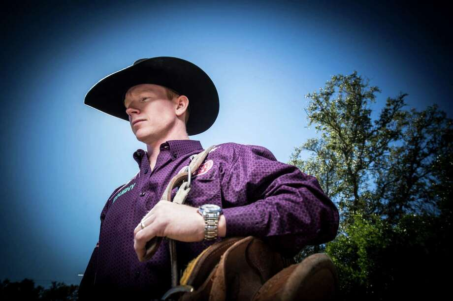 Jacobs Crawley, the reigning PRCA world saddle bronc champion, is a native of Stephenville who now lives in Boerne. He relocated with his wife, Lauren Crawley, who is originally from Cotulla. Photo: Carlos Javier Sanchez /For The Express-News / Carlos Javier Sanchez