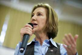 FILE - In this Feb. 6, 2016 file photo, Republican presidential candidate Carly Fiorina speaks at a campaign event in Goffstown, N.H. Fiorina exited the 2016 Republican presidential race Wednesday,Feb. 10, 2016,  after winning praise for her debate prowess, but struggling to build a winning coalition in a crowded GOP field.
