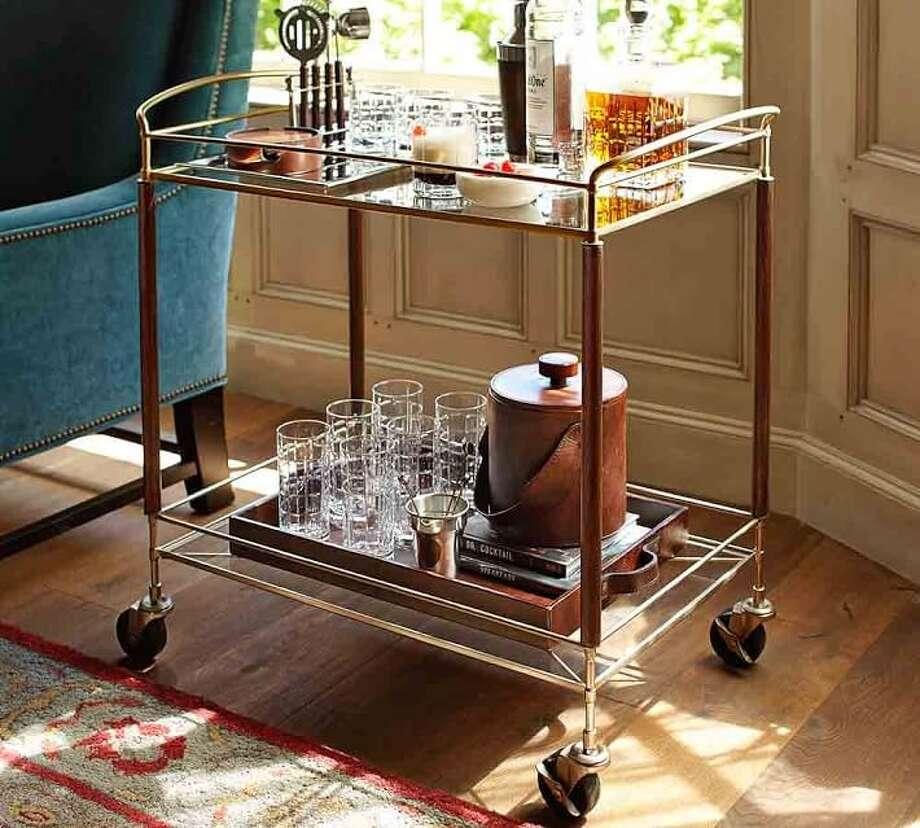 The Brady bar cart at Pottery Barn retails for $399. Photo: Courtesy Pottery Barn