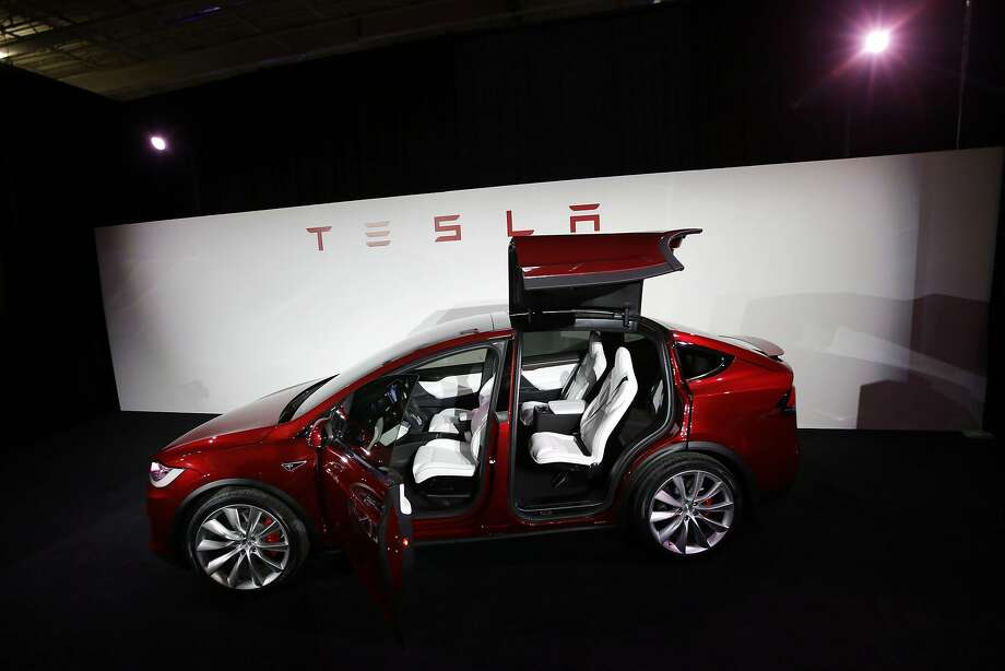 The Tesla Model X is introduced at the plant in Fremont last year. Production of the crossover SUV slowed for a time. Photo: Marcio Jose Sanchez, Associated Press
