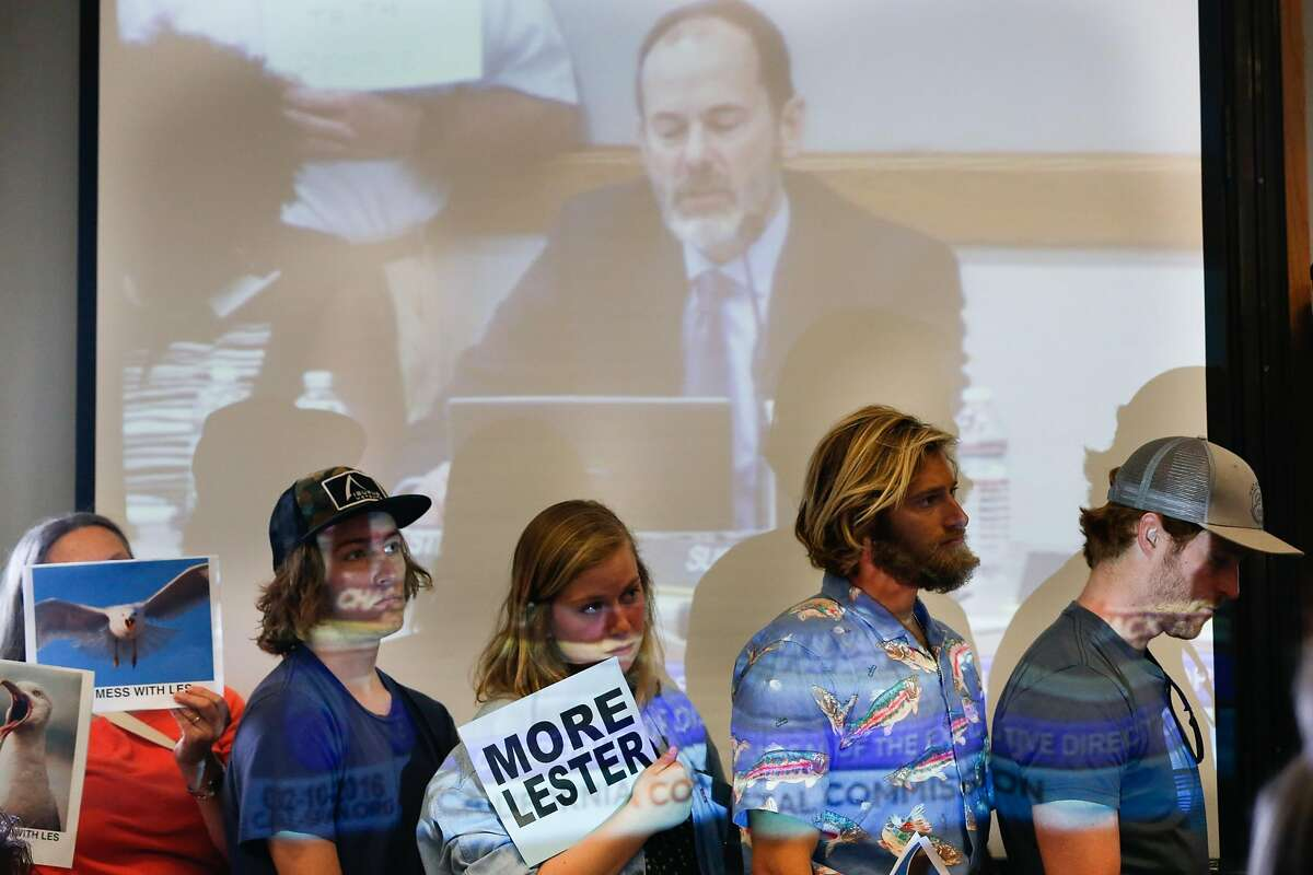 Supporters of California Coastal Commission Executive Director Charles Lester listen as he speaks at the Morro Bay Community Center in Morro Bay , Calif. on Wednesday, February 10, 2016. The proposal to fire California Coastal Commission Executive Director Charles Lester has set off furor throughout the state.