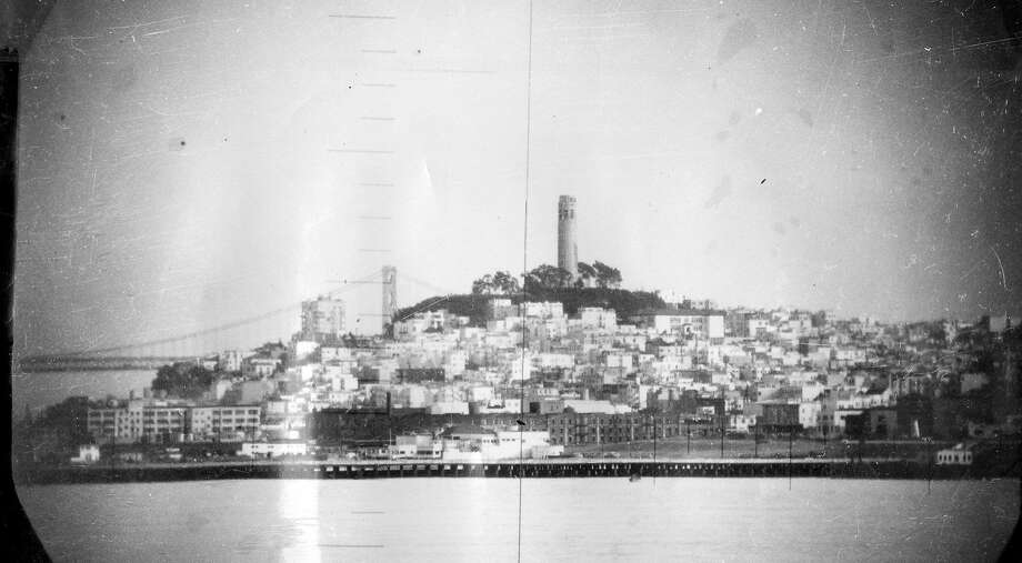Coit Tower, seen from the submarine Catfish, was the most prominent tower in San Francisco 65 years ago. Photo: Courtesy U.S. Navy