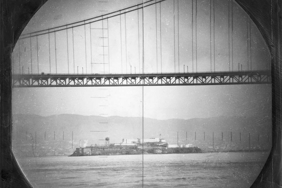 A view from the U.S.S. Catfish submarine on Jan. 21, 1951. Looking at Alcatraz while about to pass under the Golden Gate Bridge.
