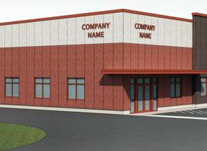 A rendering of one of the buildings proposed for the Gateway Commerce Center being envisioned off Exit 22 in Selkirk.