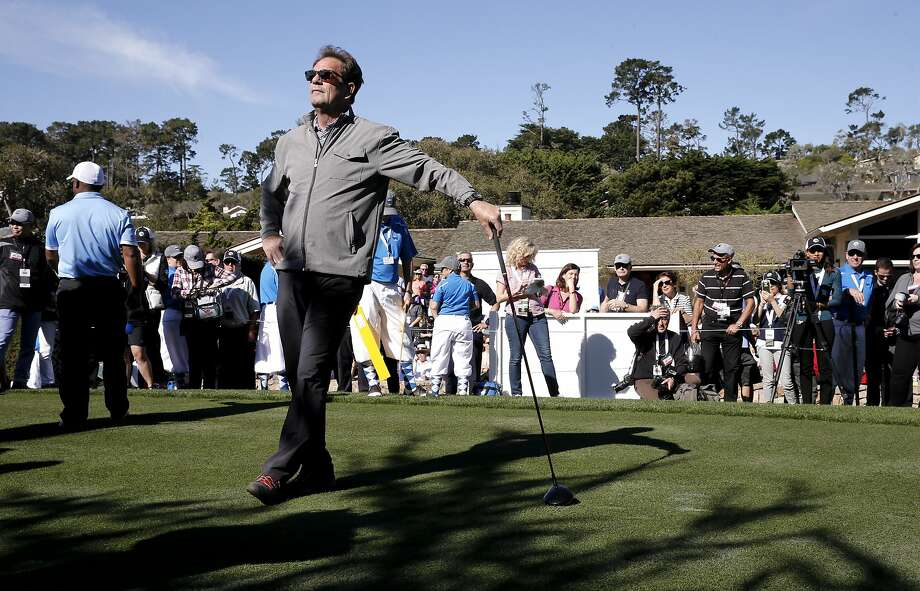 Huey Lewis strikes a pose before teeing off on the first hole, during the 3M Celebrity Challenge for charity on Wed. February 10, 2016, at the AT&T Pebble Beach Pro-Am, in Pebble Beach, California. Photo: Michael Macor