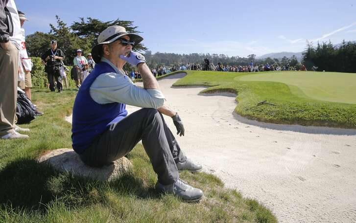Bill Murray takes a break on the first hole during the 3M Celebrity Challenge for charity on Wed. February 10, 2016, at the AT&T Pebble Beach Pro-Am, in Pebble Beach, California.