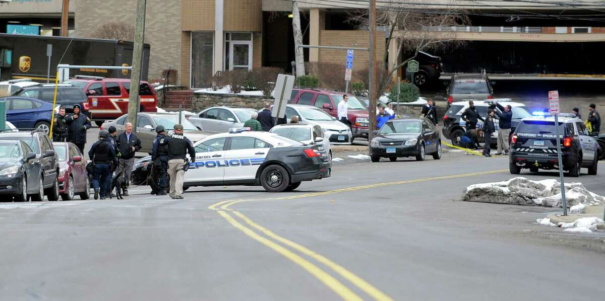 Stamford police responded to a bomb threat on Wednesday Feb. 10, 2016, that evacuated Stamford Academy about 1:30 p.m. Police closed both ends of North Street, where the school is located. The department's tactical unit and bomb squad also responded to the school.
