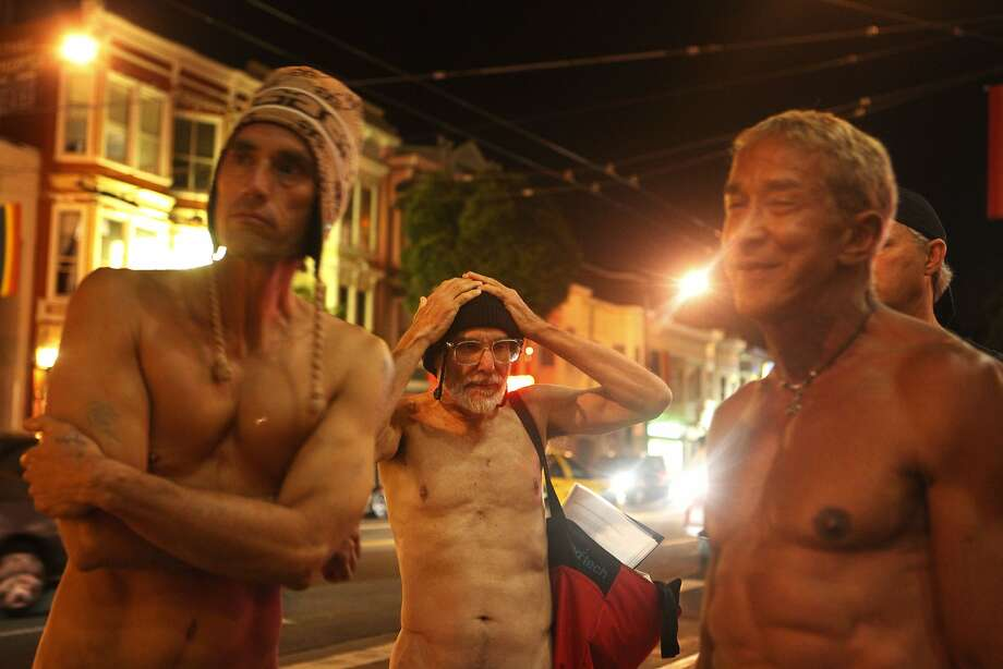 N is for nudity — particularly public nudity, seen at the corner of Castro and Market streets, the Folsom Fair, the Pride parade, the Dore Alley Fair and the Bay to Breakers footrace — with bystanders scarcely batting an eye. Photo: Mike Kepka, The Chronicle