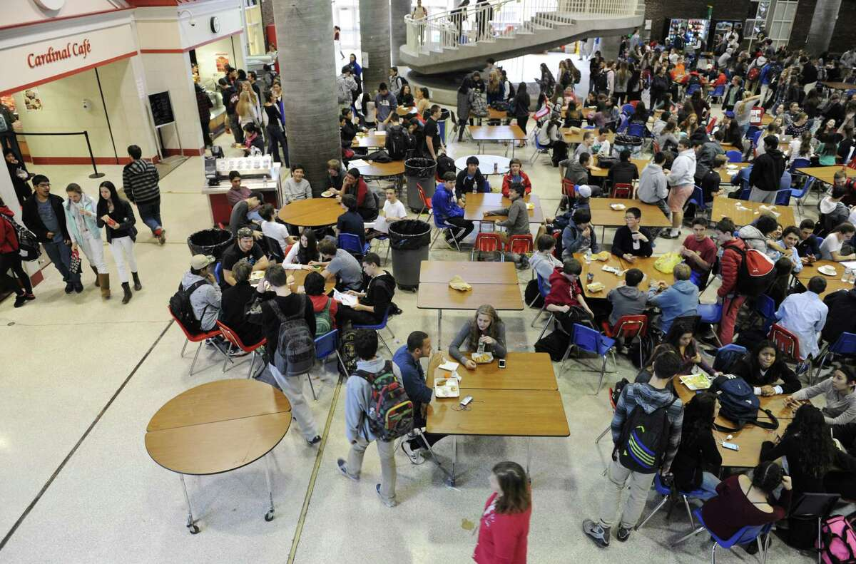 Students eat in the cafeteria at Greenwich High School.| File Photo