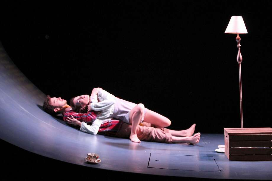 "Hildebrand (Kenny Toll, bottom) and Ondine (Jessica Waldman) try to stay awake in Cutting Ball's ""Ondine"" Photo: Rob Melrose"