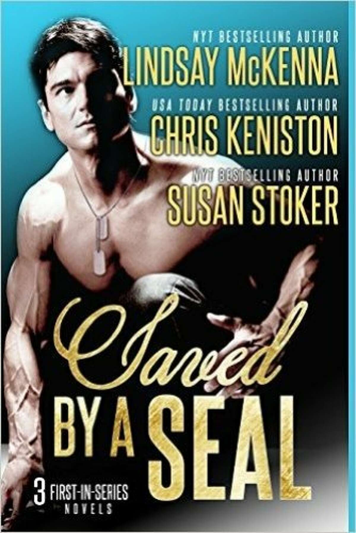 """""""Saved by a Seal"""" the 461st romance novel cover featuring model Jason Aaron Baca, who now has beaten Fabio's records for most romance novel cover appearances."""