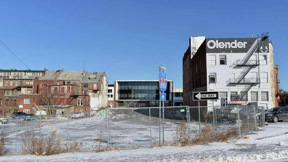 Rear of the former Olender store an others on the south side of lower State Street as seen from Erie Street Thursday Jan. 8, 2015, in Schenectady, NY.  (John Carl D'Annibale / Times Union) Photo: John Carl D'Annibale / 00030128A