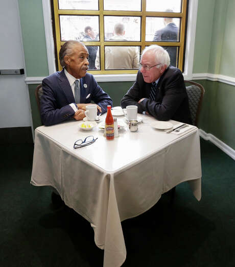 Bernie Sanders met civil rights leader Al Sharpton in Harlem, where he attempted to shore up his support among blacks. Photo: Richard Drew / Associated Press / AP