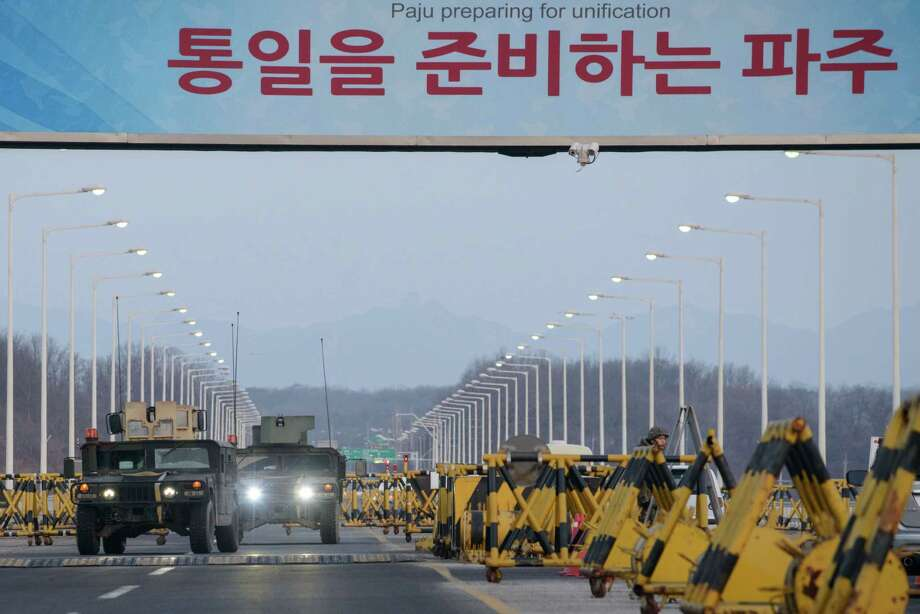 Humvees cross the Tongil bridge, which leads to the Kaesong industrial park. South Korea said halting operations there would deprive the North of funds to develop nuclear and missile technology. Photo: Ed Jones /Getty Images / AFP or licensors