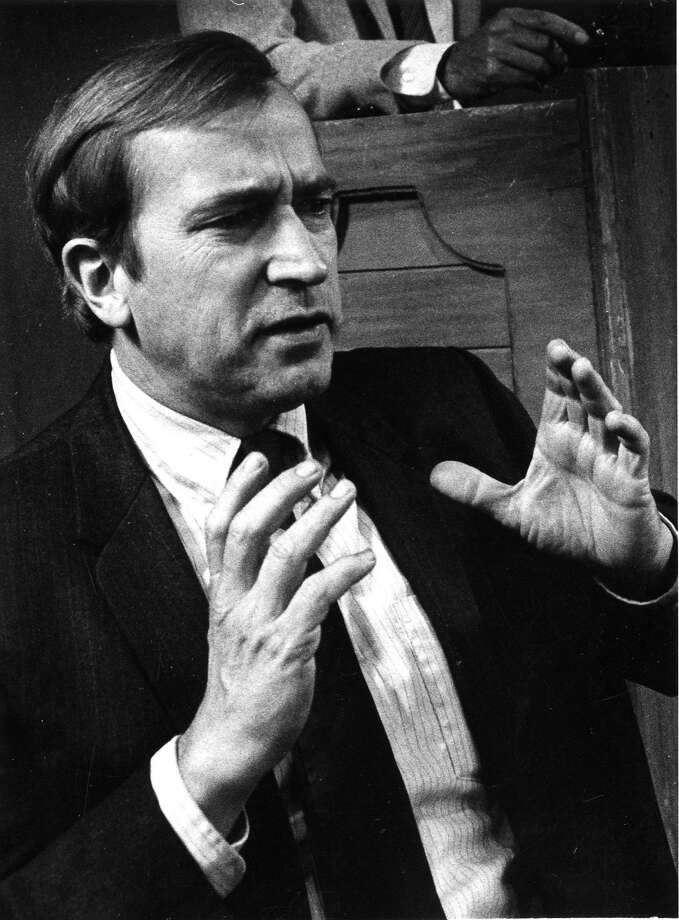Richard Reineccius as J. Robert Oppenheimer  in The Matter of J. Robert Oppenheimer  at the Julian Theater  photo dated 1982  Handout