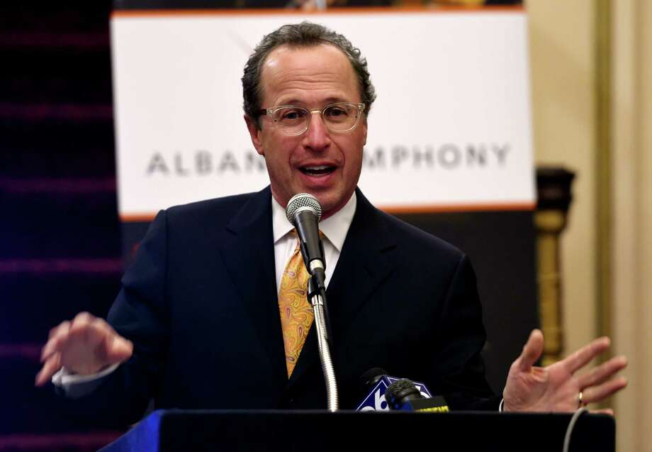 Maestro David Alan Miller announces the lineup for his 25th anniversary season of the Albany Symphony Orchestra Wednesday, Feb. 10, 2016,at the Palace Theatre in Albany, N.Y.  (Skip Dickstein/Times Union) Photo: SKIP DICKSTEIN / 10035284A