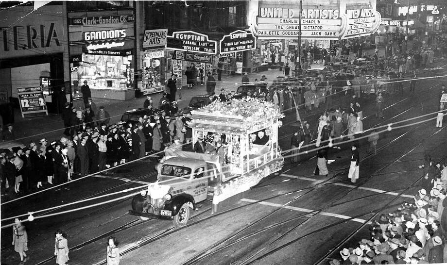 Chinese New Year Parade on Market Street in S.F., circa 1940. Photo: Photographer Unknown, The Chronicle