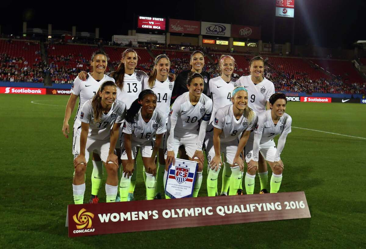 FRISCO, TX - FEBRUARY 10: Team USA poses for a photo before play against Costa Rica during 2016 CONCACAF Women's Olympic Qualifying at Toyota Stadium on February 10, 2016 in Frisco, Texas.