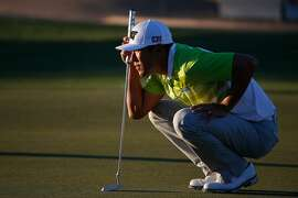 SCOTTSDALE, AZ - FEBRUARY 05: James Hahn lines up a putt on the ninth hole during the second round of the Waste Management Phoenix Open at TPC Scottsdale on February 5, 2016 in Scottsdale, Arizona. (Photo by Christian Petersen/Getty Images)