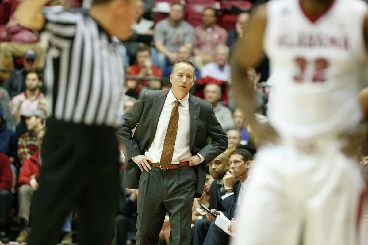 Texas A&M head coach Billy Kennedy looks on during the second half of an NCAA college basketball game, Wednesday, Feb. 10, 2016, in Tuscaloosa, Ala. Alabama won 63-62. (AP Photo/Brynn Anderson)