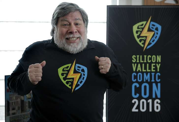 Steve Wozniak mugs for the camera as he talks about his newest project, Silicon Valley Comic Con, which will be happening in mid-March during an interview in San Francisco, Calif., on Wednesday, February 10, 2016.  This is going to be Silicon Valley's answer to the popular Comic Con International in San Diego, an intersection of pop culture, technology and entertainment.