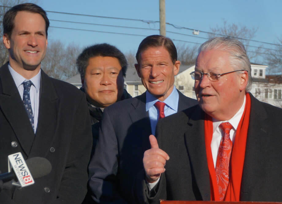 State Sen. Tony Hwang of Fairfield, second from left, and U.S. Sen. Richard Blumenthal, second from right — two of the state's most omnipresent politicians — were on hand for the recent announcement by First Selectman Michael Tetreau, right, about aid for rebuilding Penfield Pavilion. At left, is U.S. Rep. Jim Himes. Photo: Fairfield Citizen / File Photo / Fairfield Citizen