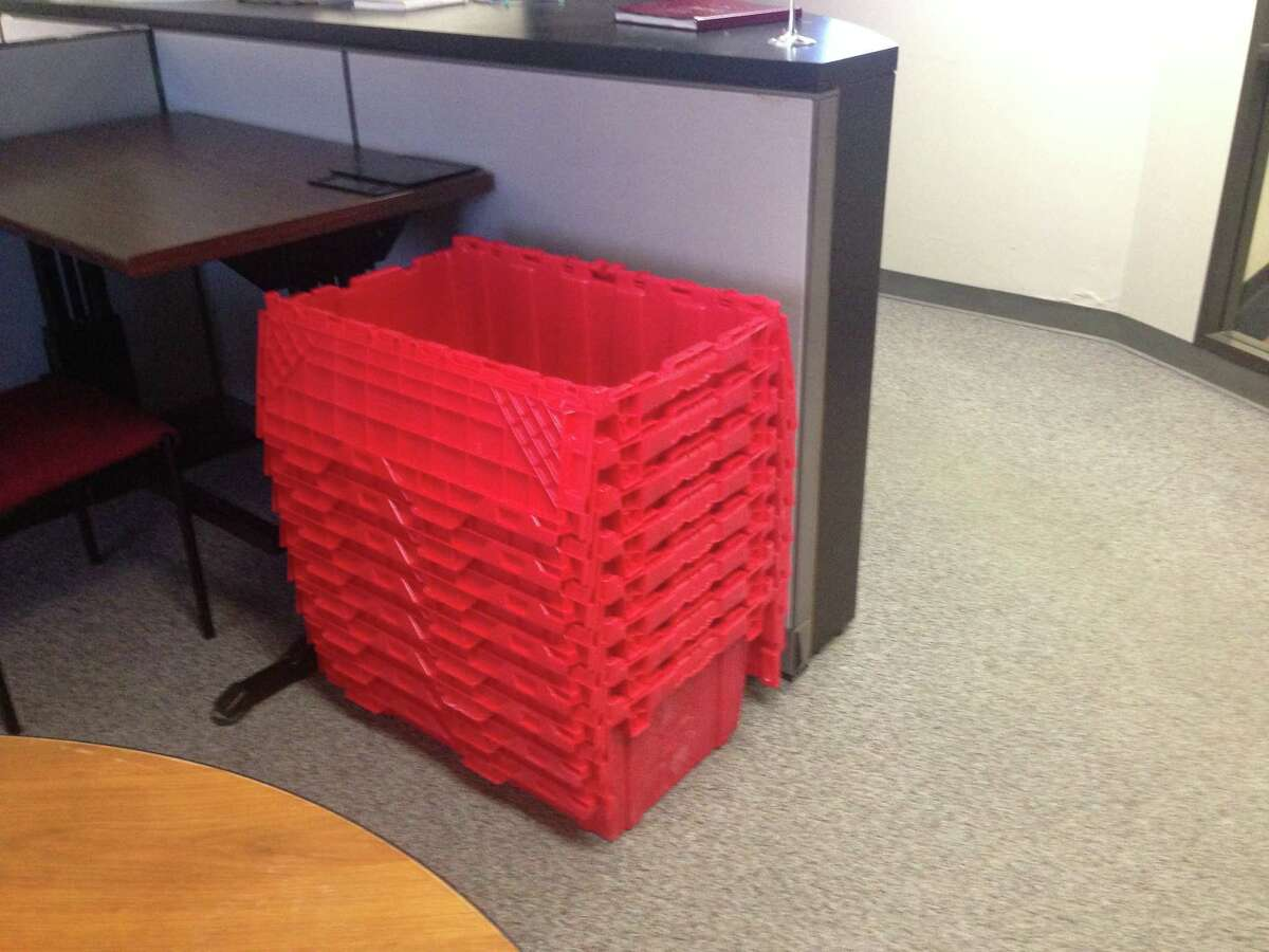Red boxes for move day.