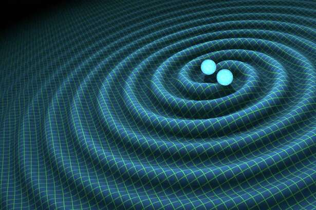 An artist's impression of gravitational waves generated by binary neutron stars. (R. Hurt/Caltech-JPL)