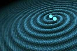 An artist's impression of gravitational waves generated by binary neutron stars. (R. Hurt/Caltech-JPL)
