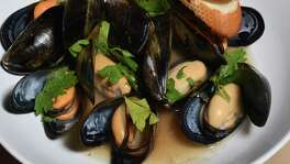 Cozze, or mussels, are cooked with shallots, garlic and rosé wine and topped with Italian parsley.