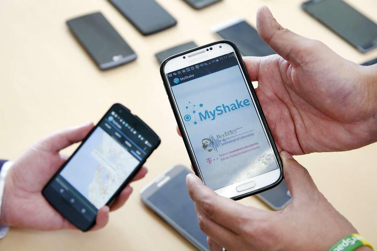Phones running the MyShake app.