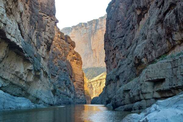 Santa Elena Canyon of Rio Grande at sunset, Chihuahuan Desert in Big Bend National Park.
