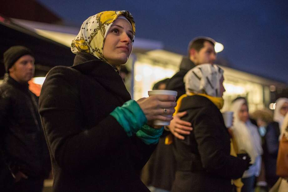 Suzanne Barakat on the one-year anniversary of the murder of her brother Deah Barakat, his wife Yusor Mohammad Abu-Salha and her sister Razan Mohammad Abu-Salha (ALL NAMES CQ). A vigil was held in their honor at North Carolina State University in Raleigh, NC on Wednesday, February 10, 2016. Photo: Justin Cook, Special To The Chronicle