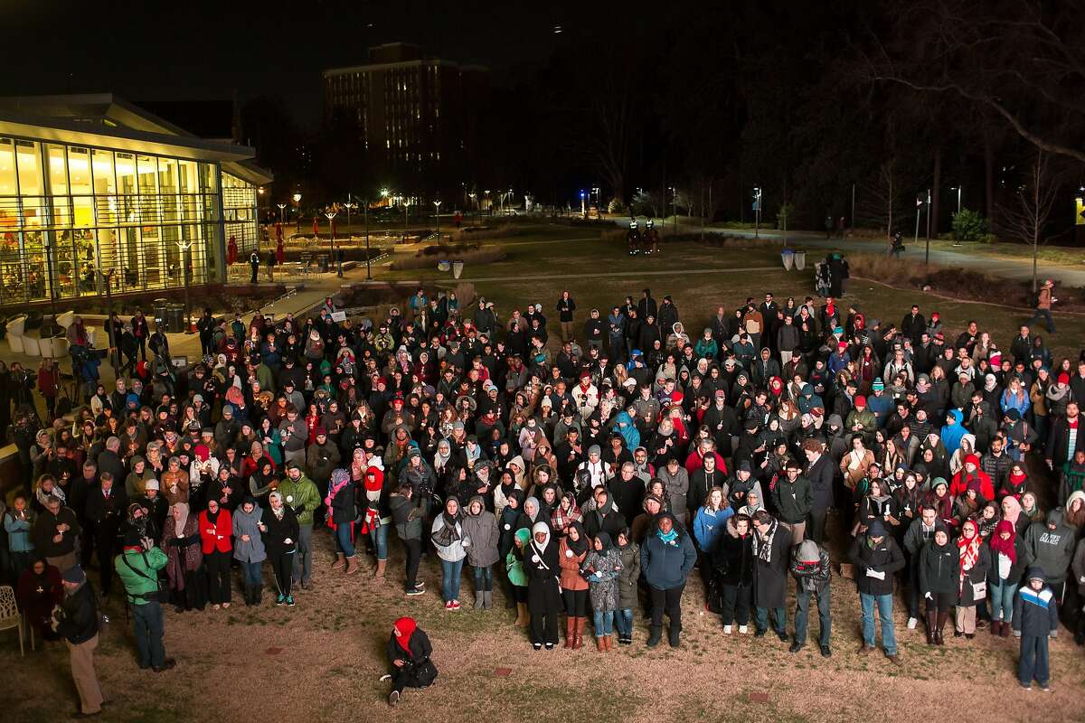 Hundreds attended a vigil on the one-year anniversary of the murder of Deah Barakat, his wife Yusor Mohammad Abu-Salha and her sister Razan Mohammad Abu-Salha (ALL NAMES CQ). A vigil was held in their honor at North Carolina State University in Raleigh, NC on Wednesday, February 10, 2016.