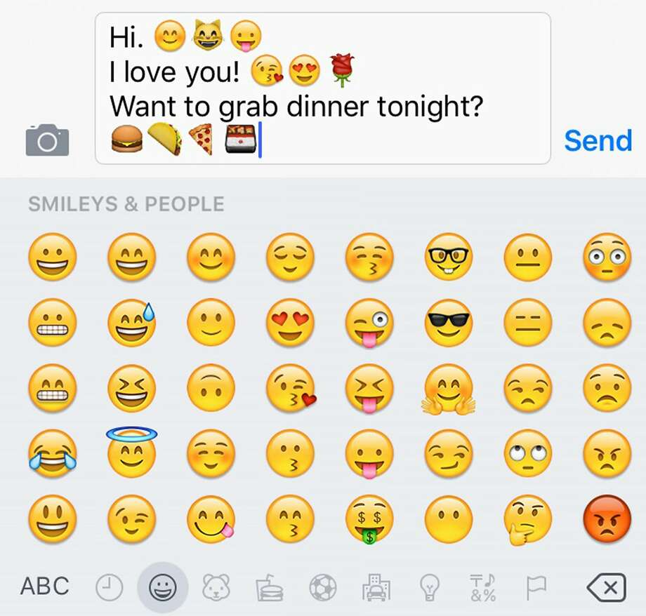 Emojis can be a great way of communicating, although you might go into a food coma if you go out for burgers, tacos, pizza and a bento box. Photo: Haley BeMiller, McClatchy-Tribune News Service