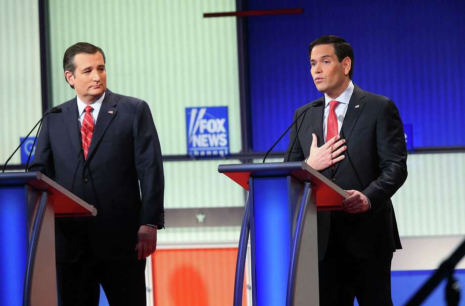 DES MOINES, IA - JANUARY 28:  Republican presidential candidates (R-L) Sen. Marco Rubio (R-FL) and Sen. Ted Cruz (R-TX) participate in the Fox News - Google GOP Debate January 28, 2016 at the Iowa Events Center in Des Moines, Iowa. Residents of Iowa will vote for the Republican nominee at the caucuses on February 1. Donald Trump, who is leading most polls in the state, decided not to participate in the debate.  (Photo by Scott Olson/Getty Images) Photo: Scott Olson, Staff / Getty Images / 2016 Getty Images