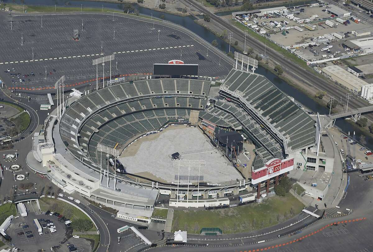 The O.co Coliseum is seen in this view from the Goodyear Blimp Spirit of Innovation Friday, Feb. 5, 2016, in Oakland, Calif. The multi-purpose stadium opened in 1966 and is home to the Oakland Athletics baseball team and Oakland Raiders football team. It is commonly known as the Oakland Coliseum. (AP Photo/Eric Risberg)