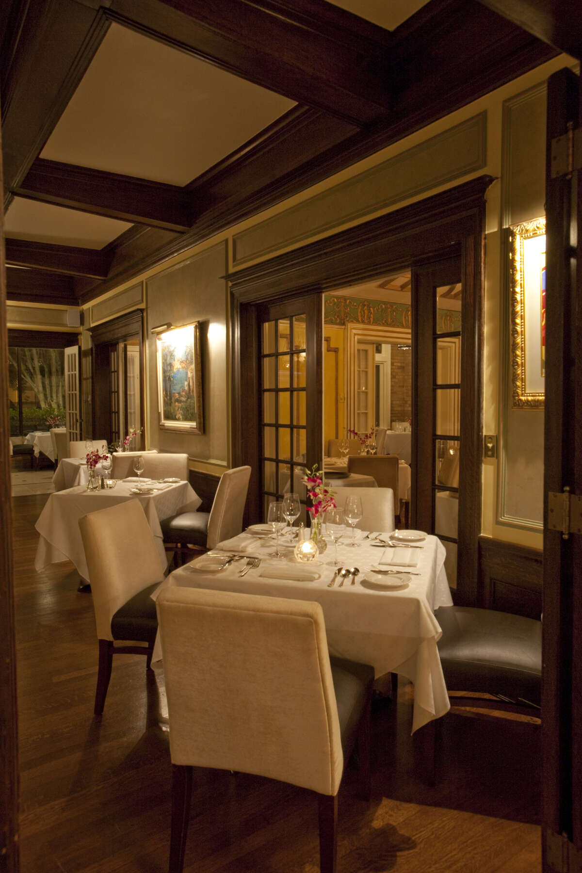 Restaurant Cinq at La Colombe d'Or Hotel 3410 Montrose713-524-7999lacolombedor.comOne of the dining rooms of Restaurant Cinq at night. The fine dining restaurant is in La Colombe d'Or Hotel, 3410 Montrose, Houston.