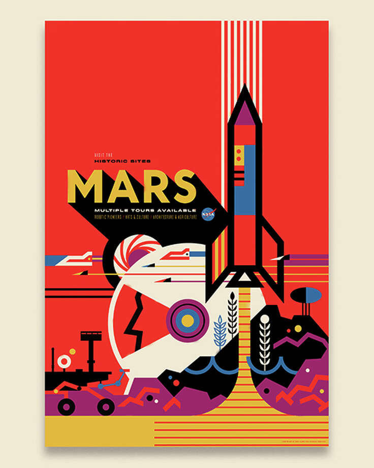 """Mars: NASA's Mars Exploration Program seeks to understand whether Mars was, is, or can be a habitable world. Missions like Mars Pathfinder, Mars Exploration Rovers, Mars Science Laboratory and Mars Reconnaissance Orbiter, among many others, have provided important information in understanding of the habitability of Mars. This poster imagines a future day when we have achieved our vision of human exploration of Mars and takes a nostalgic look back at the great imagined milestones of Mars exploration that will someday be celebrated as ""historic sites."" - Invisible Creature Photo: Photo Courtesy Of Invisible Creature."
