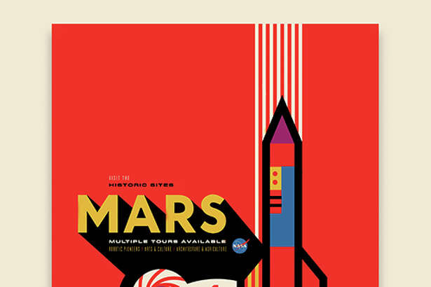 """Mars: NASA's Mars Exploration Program seeks to understand whether Mars was, is, or can be a habitable world. Missions like Mars Pathfinder, Mars Exploration Rovers, Mars Science Laboratory and Mars Reconnaissance Orbiter, among many others, have provided important information in understanding of the habitability of Mars. This poster imagines a future day when we have achieved our vision of human exploration of Mars and takes a nostalgic look back at the great imagined milestones of Mars exploration that will someday be celebrated as ""historic sites."" - Invisible Creature"