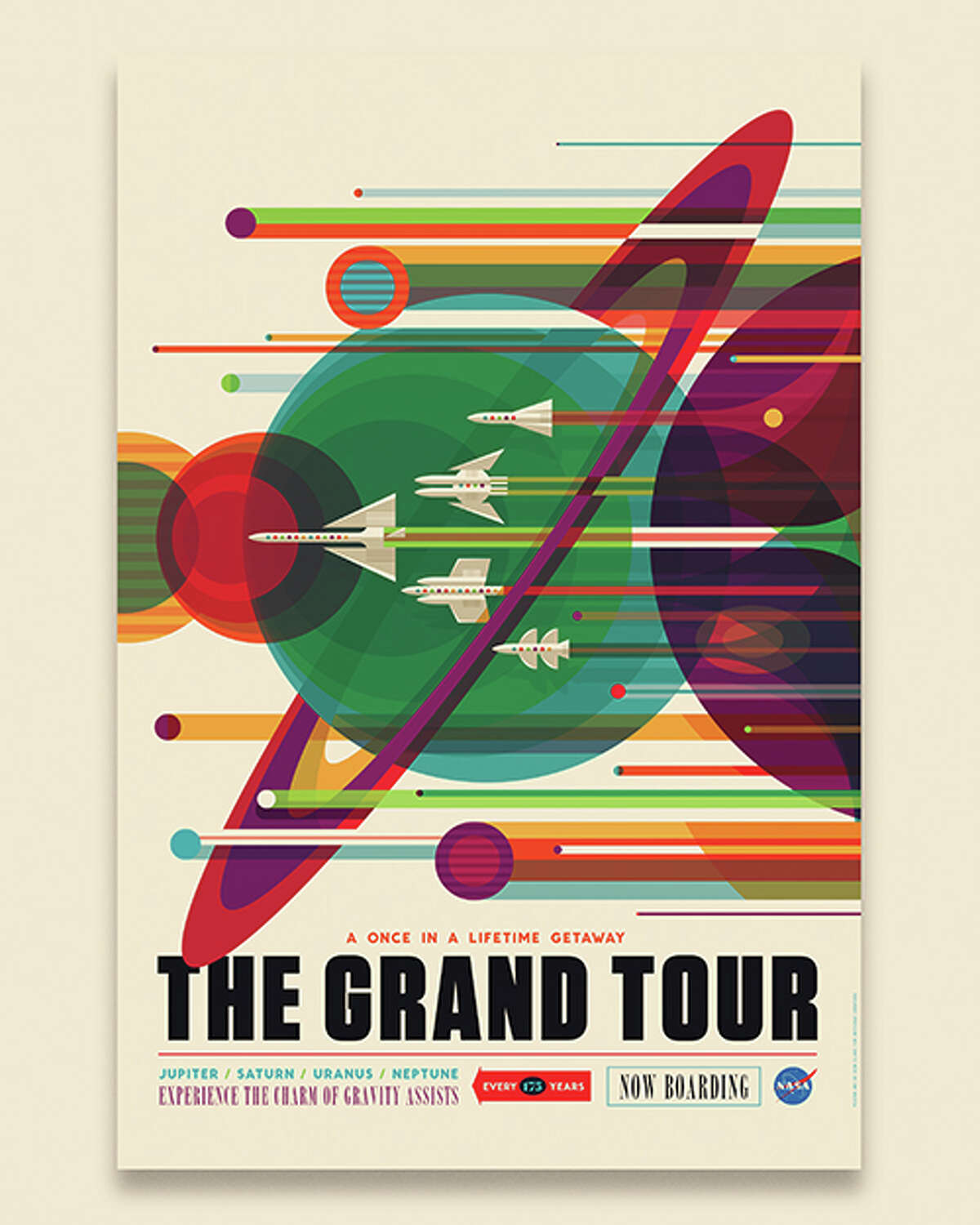 """""""The Grand Tour: NASA's Voyager mission took advantage of a once-every-175-year alignment of the outer planets for a grand tour of the solar system. The twin spacecraft revealed stunning details about Jupiter, Saturn, Uranus and Neptune - using each planet's gravity to send them on to the next destination. Voyager set the stage for such ambitious orbiter missions as Galileo to Jupiter and Cassini to Saturn. Today both Voyager spacecraft continue to return valuable science from the far reaches of our solar system."""" - Invisible Creature"""