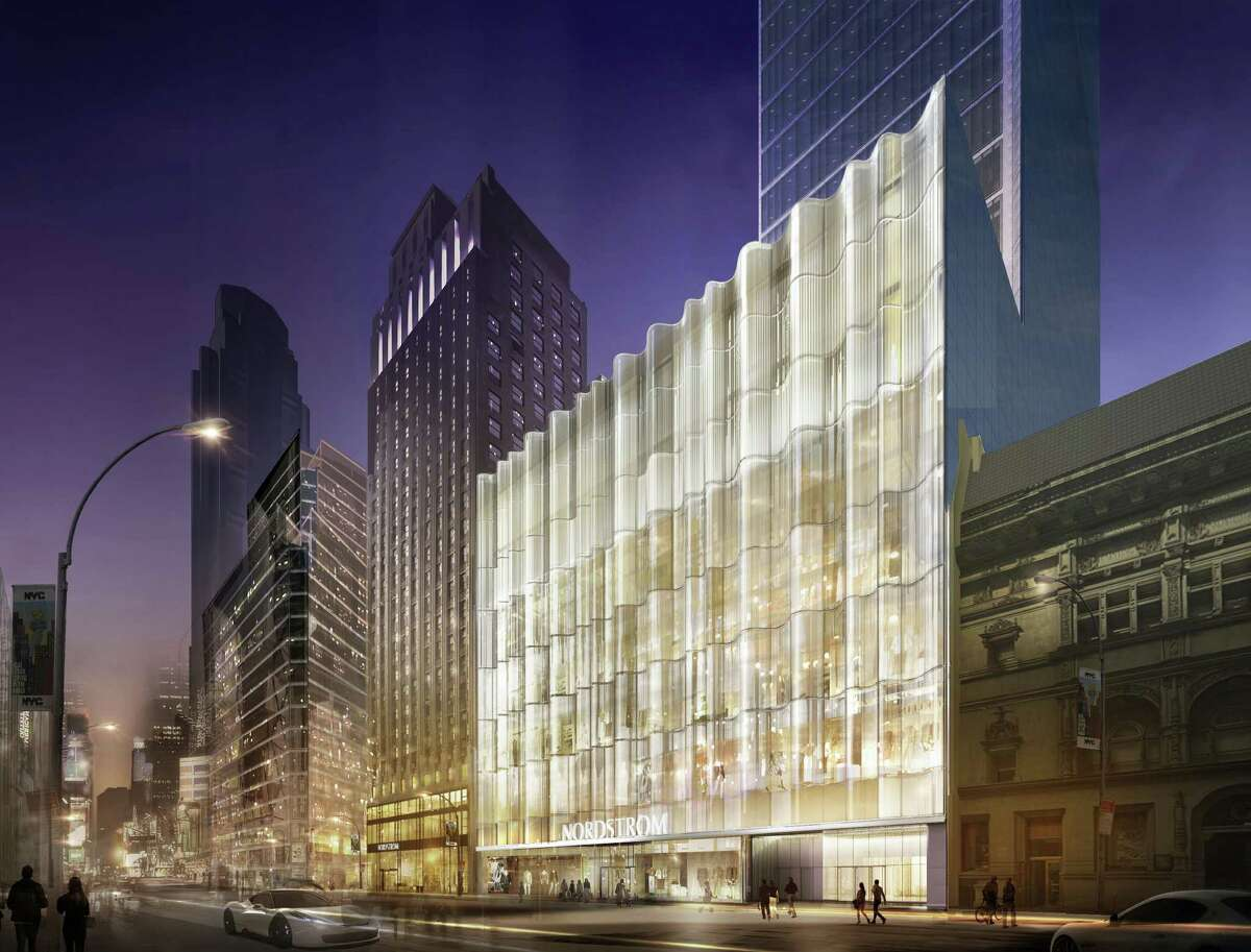 This rendering shows the West 57th Street facade at night, with the glass waveforms design.