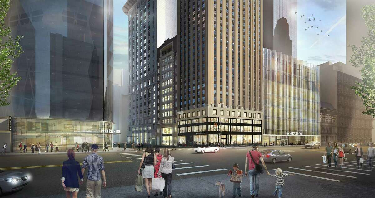This rendering of the Nordstrom's planned New York City flagship store gives a wide view of the store's footprint in Manhattan, at the corner of West 57th Street and Broadway.