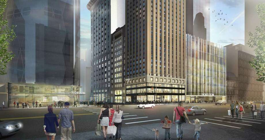 This rendering of the Nordstrom's planned New York City flagship store gives a wide view of the store's footprint in Manhattan, at the corner of West 57th Street and Broadway. Photo: Ahimichuk, Courtesy Nordstrom / 2016 Nordstrom
