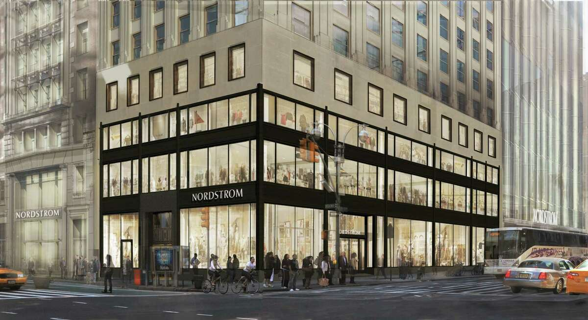 This rendering shows how the planned new New York City flagship Nordstrom store will look at the southwest corner of West 57th Street and Broadway.