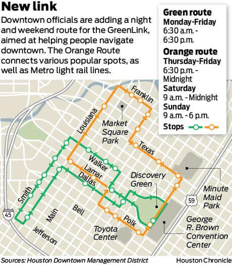 Downtown circulator service gets nightweekend shift Houston