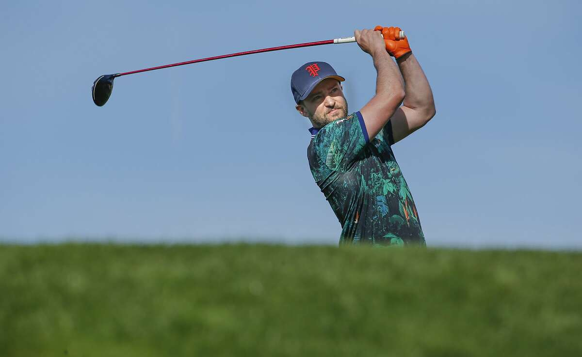 Justin Timberlake tees off on the sixth hole as he plays the Spyglass Hill Golf Course during the first round of play, on Thurs. February 11, 2016, at the AT&T Pebble Beach Pro-Am, in Pebble Beach, California.