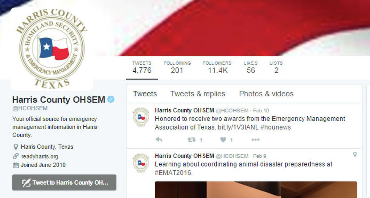Harris CountyOffice of Homeland Security and Emergency Management This feed of flood, fire and extreme weather alerts has more than 11,0000 followers. The Twitter star behind the account, Francisco Sanchez, also ranks among the county's top tweeters.