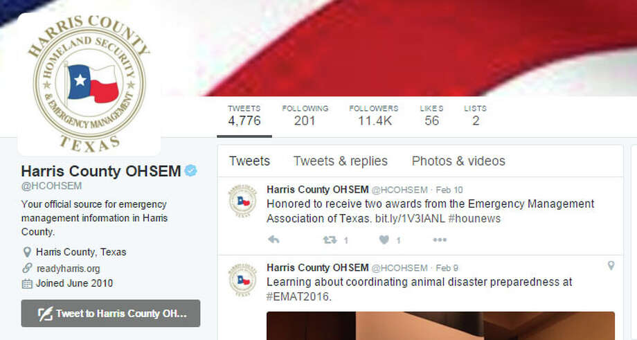 Harris CountyOffice of Homeland Security and Emergency ManagementThis feed of flood, fire and extreme weather alerts has more than 11,0000 followers. The Twitter star behind the account, Francisco Sanchez, also ranks among the county's top tweeters. Photo: Twitter